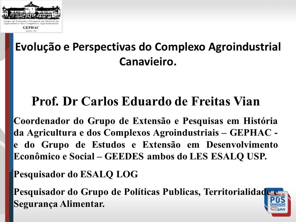 Evolução e Perspectivas do Complexo Agroindustrial Canavieiro. Prof. Dr Carlos Eduardo de Freitas Vian Coordenador do Grupo de Extensão e Pesquisas em