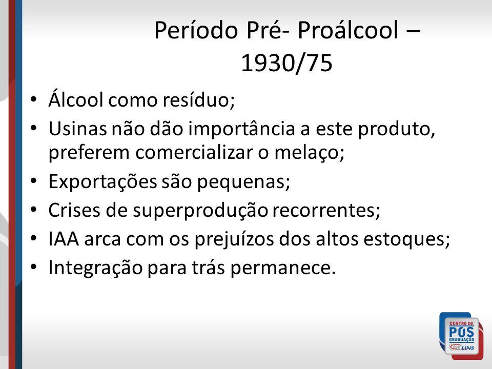 Período Pré- Proálcool – 1930/75 Álcool como resíduo; Usinas não dão importância a este produto, preferem comercializar o melaço; Exportações são pequ