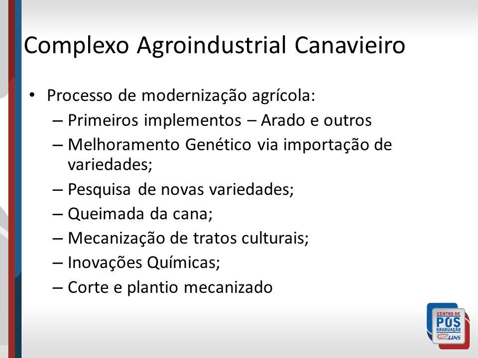 Complexo Agroindustrial Canavieiro Processo de modernização agrícola: – Primeiros implementos – Arado e outros – Melhoramento Genético via importação