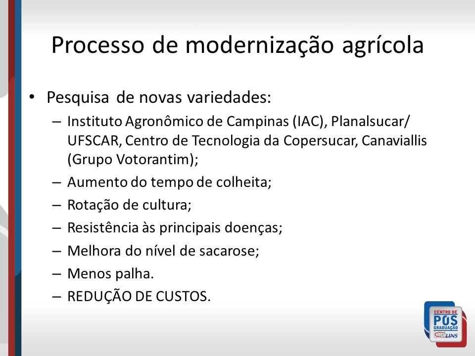 Processo de modernização agrícola Pesquisa de novas variedades: – Instituto Agronômico de Campinas (IAC), Planalsucar/ UFSCAR, Centro de Tecnologia da