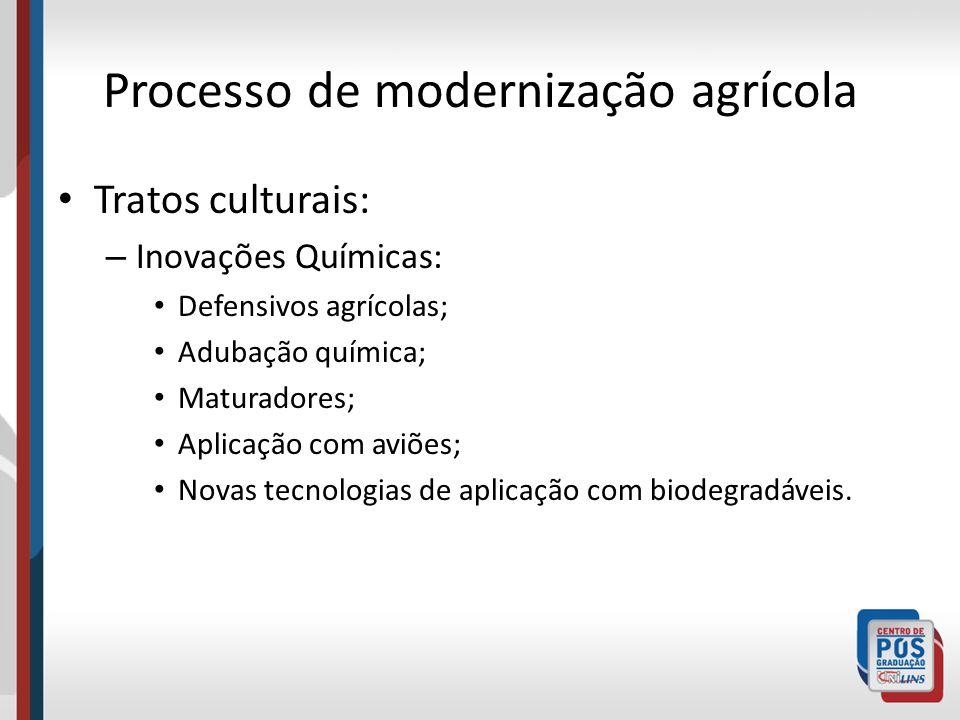 Processo de modernização agrícola Tratos culturais: – Inovações Químicas: Defensivos agrícolas; Adubação química; Maturadores; Aplicação com aviões; N