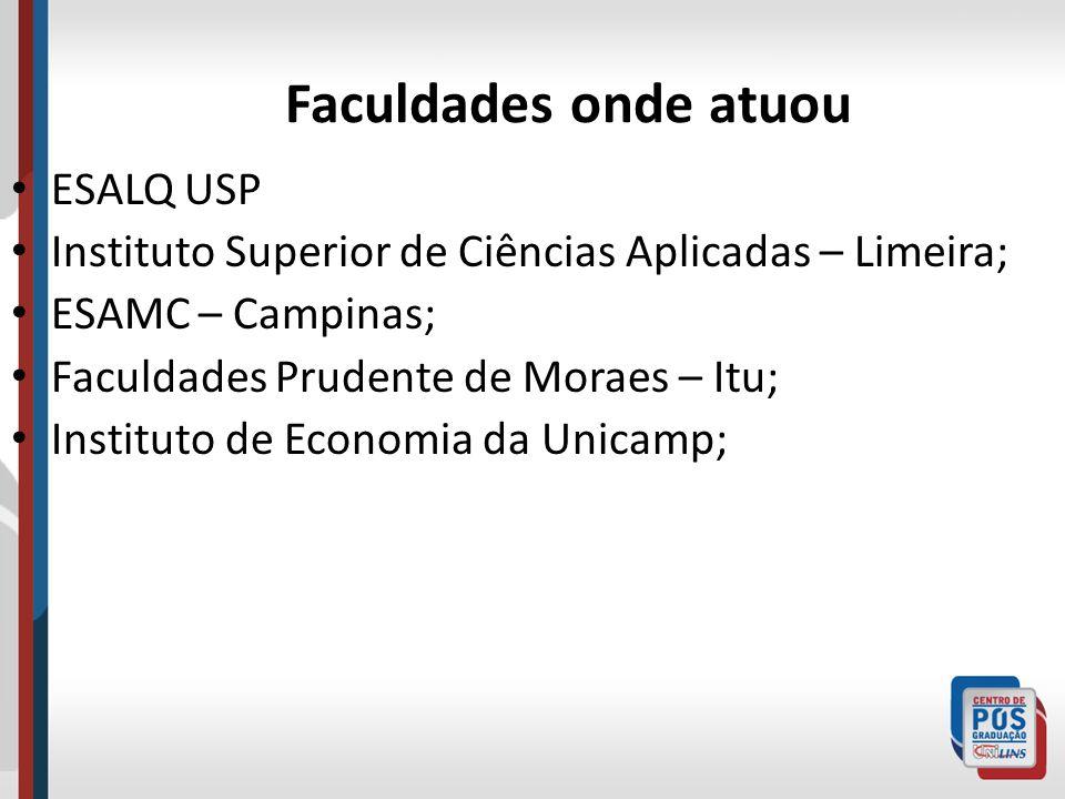 Faculdades onde atuou ESALQ USP Instituto Superior de Ciências Aplicadas – Limeira; ESAMC – Campinas; Faculdades Prudente de Moraes – Itu; Instituto d