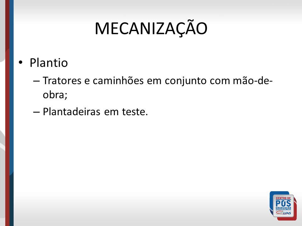 MECANIZAÇÃO Plantio – Tratores e caminhões em conjunto com mão-de- obra; – Plantadeiras em teste.