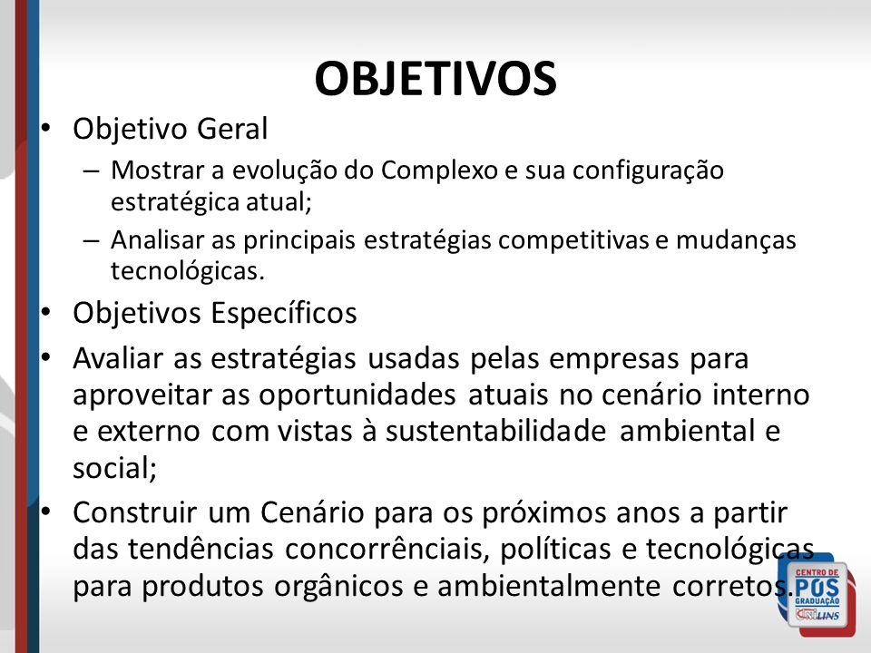 OBJETIVOS Objetivo Geral – Mostrar a evolução do Complexo e sua configuração estratégica atual; – Analisar as principais estratégias competitivas e mu