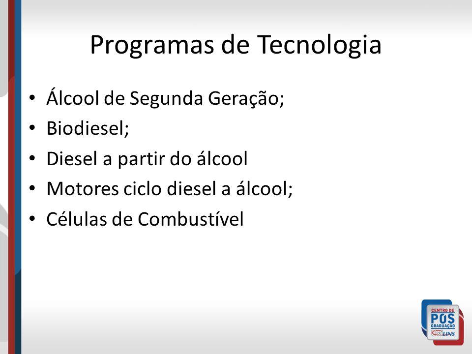 Programas de Tecnologia Álcool de Segunda Geração; Biodiesel; Diesel a partir do álcool Motores ciclo diesel a álcool; Células de Combustível