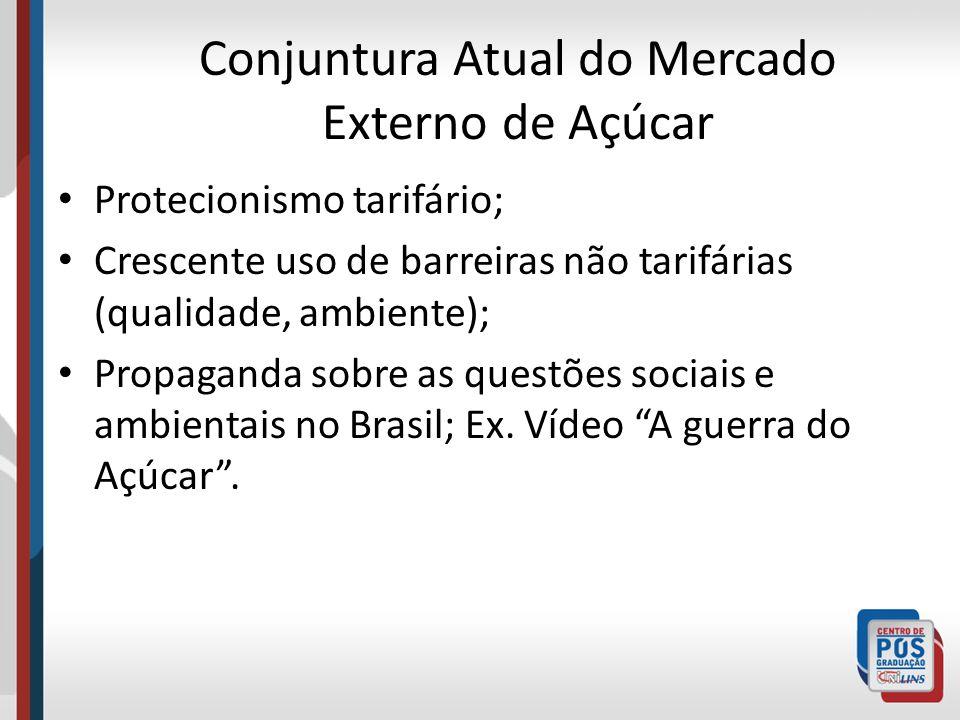 Conjuntura Atual do Mercado Externo de Açúcar Protecionismo tarifário; Crescente uso de barreiras não tarifárias (qualidade, ambiente); Propaganda sob