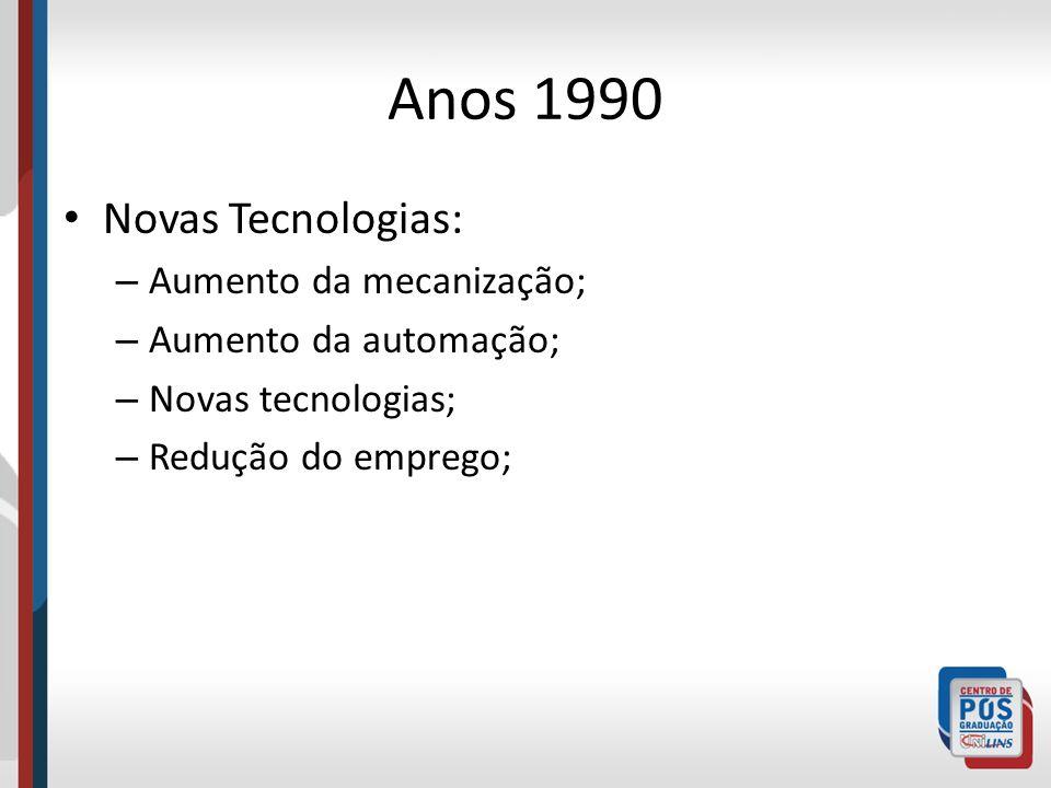 Anos 1990 Novas Tecnologias: – Aumento da mecanização; – Aumento da automação; – Novas tecnologias; – Redução do emprego;