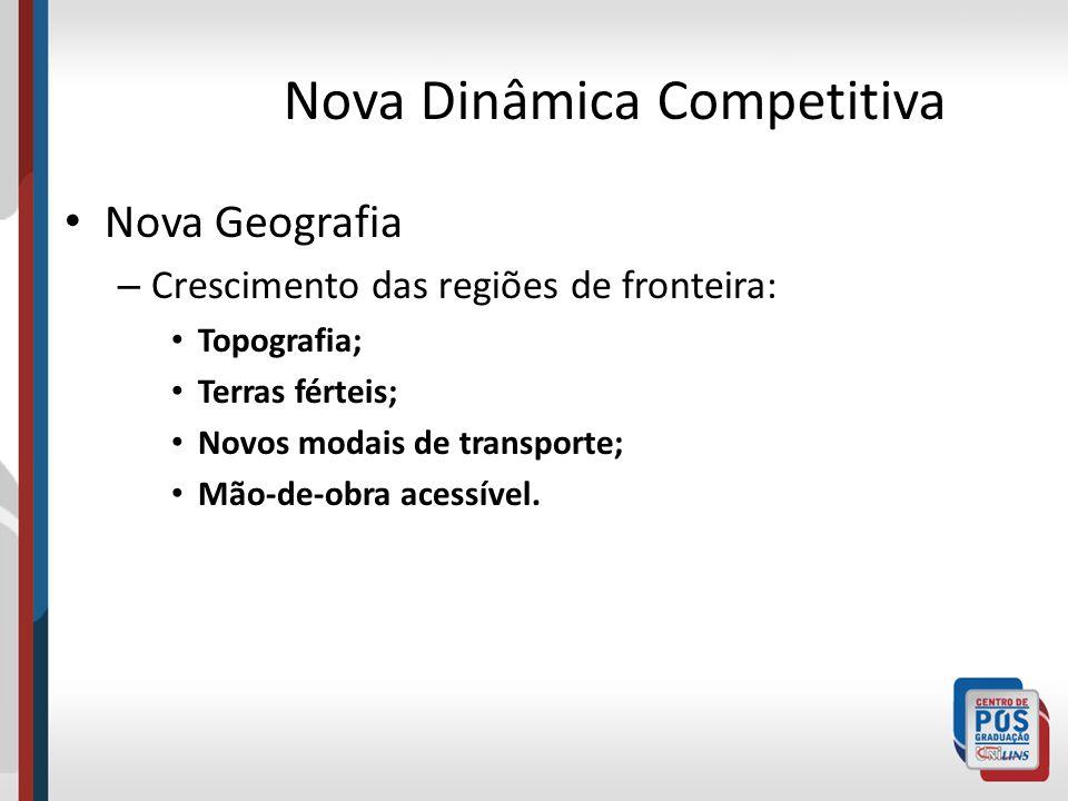 Nova Dinâmica Competitiva Nova Geografia – Crescimento das regiões de fronteira: Topografia; Terras férteis; Novos modais de transporte; Mão-de-obra a