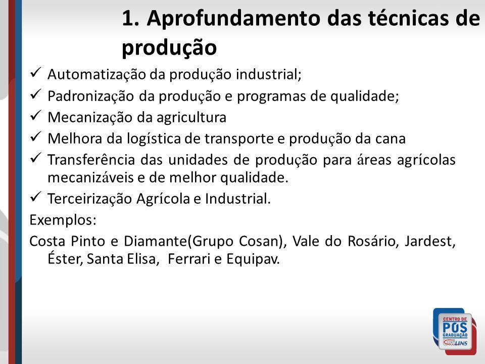 1. Aprofundamento das técnicas de produção Automatiza ç ão da produ ç ão industrial; Padroniza ç ão da produ ç ão e programas de qualidade; Mecaniza ç