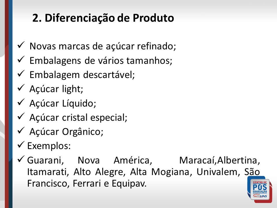 2. Diferenciação de Produto Novas marcas de açúcar refinado; Embalagens de vários tamanhos; Embalagem descartável; Açúcar light; Açúcar Líquido; Açúca