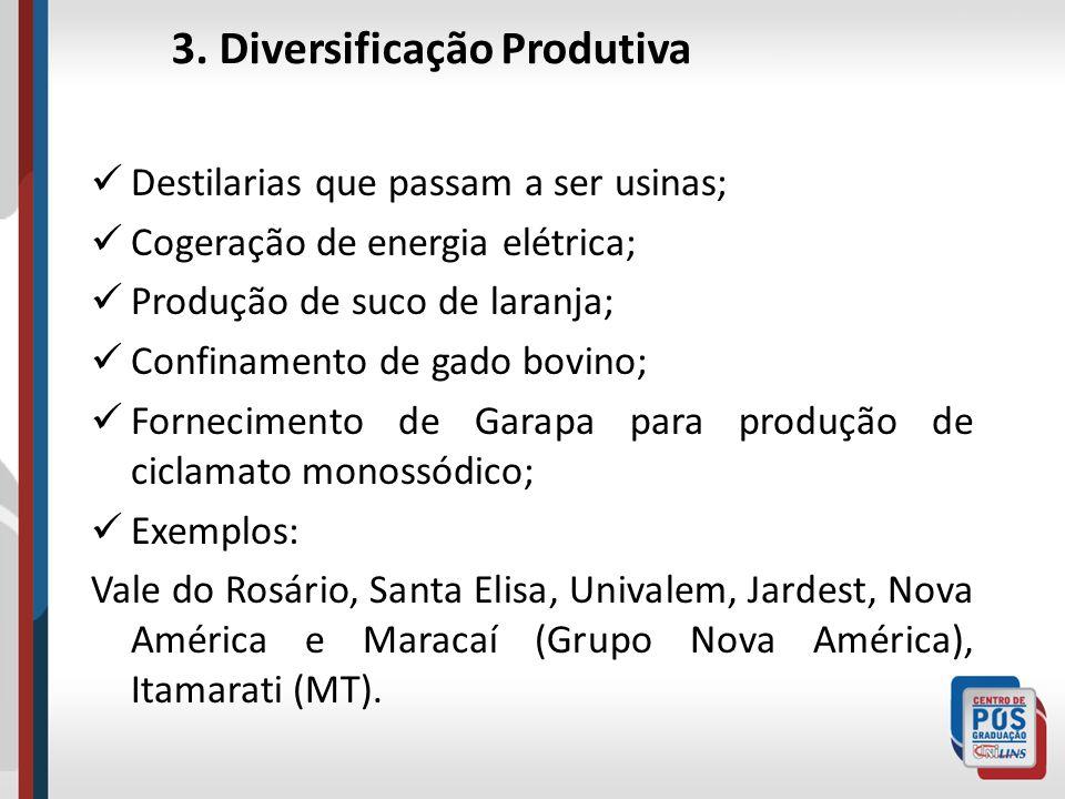 3. Diversificação Produtiva Destilarias que passam a ser usinas; Cogeração de energia elétrica; Produção de suco de laranja; Confinamento de gado bovi