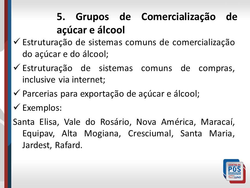5. Grupos de Comercialização de açúcar e álcool Estruturação de sistemas comuns de comercialização do açúcar e do álcool; Estruturação de sistemas com