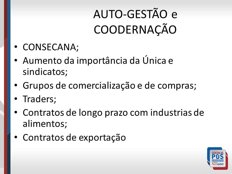 AUTO-GESTÃO e COODERNAÇÃO CONSECANA; Aumento da importância da Única e sindicatos; Grupos de comercialização e de compras; Traders; Contratos de longo