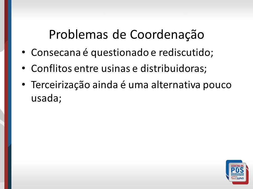 Problemas de Coordenação Consecana é questionado e rediscutido; Conflitos entre usinas e distribuidoras; Terceirização ainda é uma alternativa pouco u