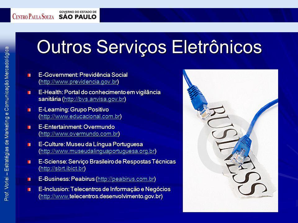 Prof. Vorlei – Estratégias de Marketing e Comunicação Mercadológica Outros Serviços Eletrônicos E-Government: Previdência Social (http://www.previdenc