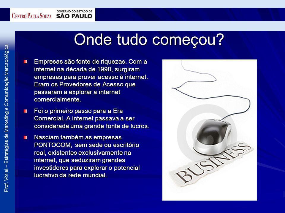 Prof. Vorlei – Estratégias de Marketing e Comunicação Mercadológica Onde tudo começou? Empresas são fonte de riquezas. Com a internet na década de 199
