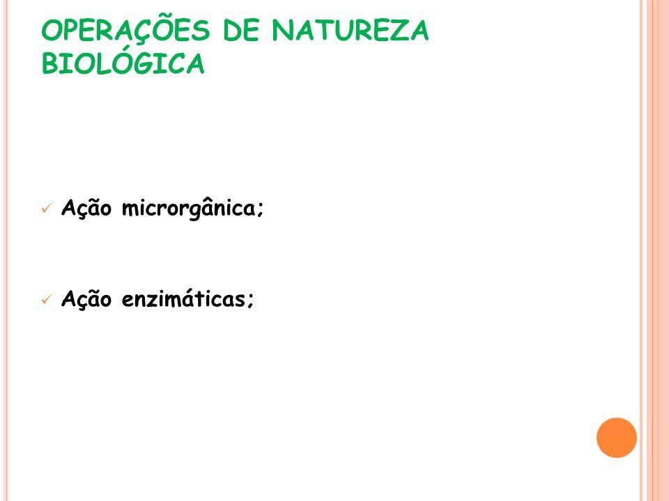 OPERAÇÕES DE NATUREZA BIOLÓGICA Ação microrgânica; Ação enzimáticas;