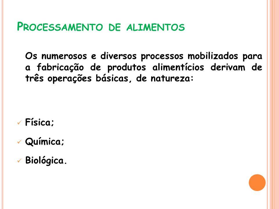 P ROCESSAMENTO DE ALIMENTOS Os numerosos e diversos processos mobilizados para a fabricação de produtos alimentícios derivam de três operações básicas