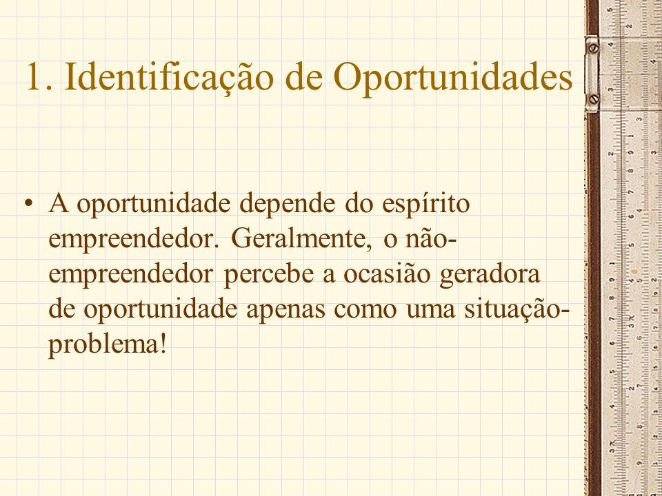 1. Identificação de Oportunidades A oportunidade depende do espírito empreendedor. Geralmente, o não- empreendedor percebe a ocasião geradora de oport