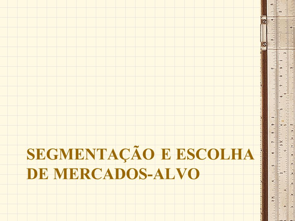 SEGMENTAÇÃO E ESCOLHA DE MERCADOS-ALVO