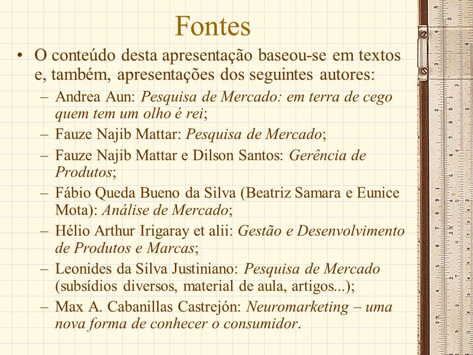 Fontes O conteúdo desta apresentação baseou-se em textos e, também, apresentações dos seguintes autores: –Andrea Aun: Pesquisa de Mercado: em terra de
