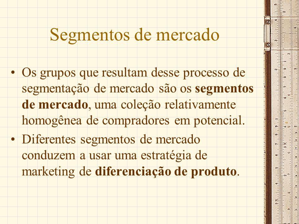 Segmentos de mercado Os grupos que resultam desse processo de segmentação de mercado são os segmentos de mercado, uma coleção relativamente homogênea