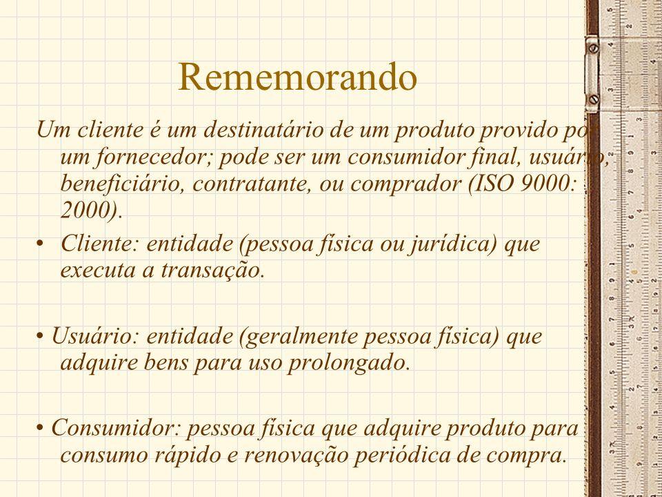 Rememorando Um cliente é um destinatário de um produto provido por um fornecedor; pode ser um consumidor final, usuário, beneficiário, contratante, ou