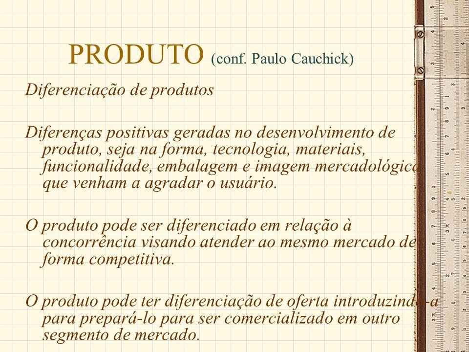 PRODUTO (conf. Paulo Cauchick) Diferenciação de produtos Diferenças positivas geradas no desenvolvimento de produto, seja na forma, tecnologia, materi