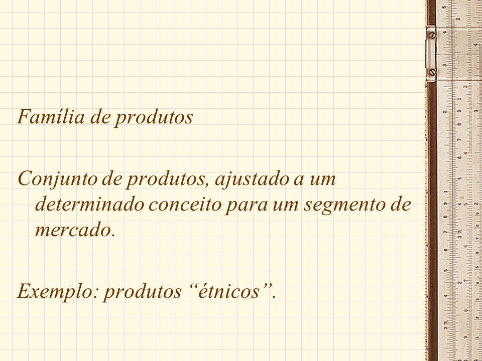Família de produtos Conjunto de produtos, ajustado a um determinado conceito para um segmento de mercado. Exemplo: produtos étnicos.