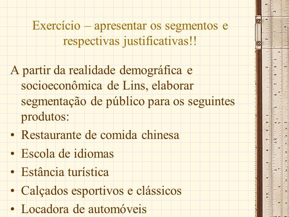 Exercício – apresentar os segmentos e respectivas justificativas!! A partir da realidade demográfica e socioeconômica de Lins, elaborar segmentação de