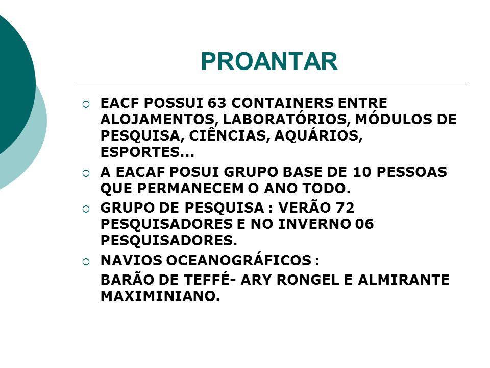 PROANTAR EACF POSSUI 63 CONTAINERS ENTRE ALOJAMENTOS, LABORATÓRIOS, MÓDULOS DE PESQUISA, CIÊNCIAS, AQUÁRIOS, ESPORTES... A EACAF POSUI GRUPO BASE DE 1
