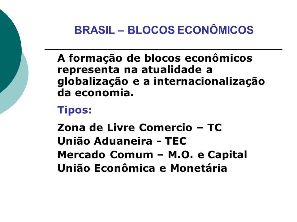 BRASIL – BLOCOS ECONÔMICOS A formação de blocos econômicos representa na atualidade a globalização e a internacionalização da economia. Tipos: Zona de