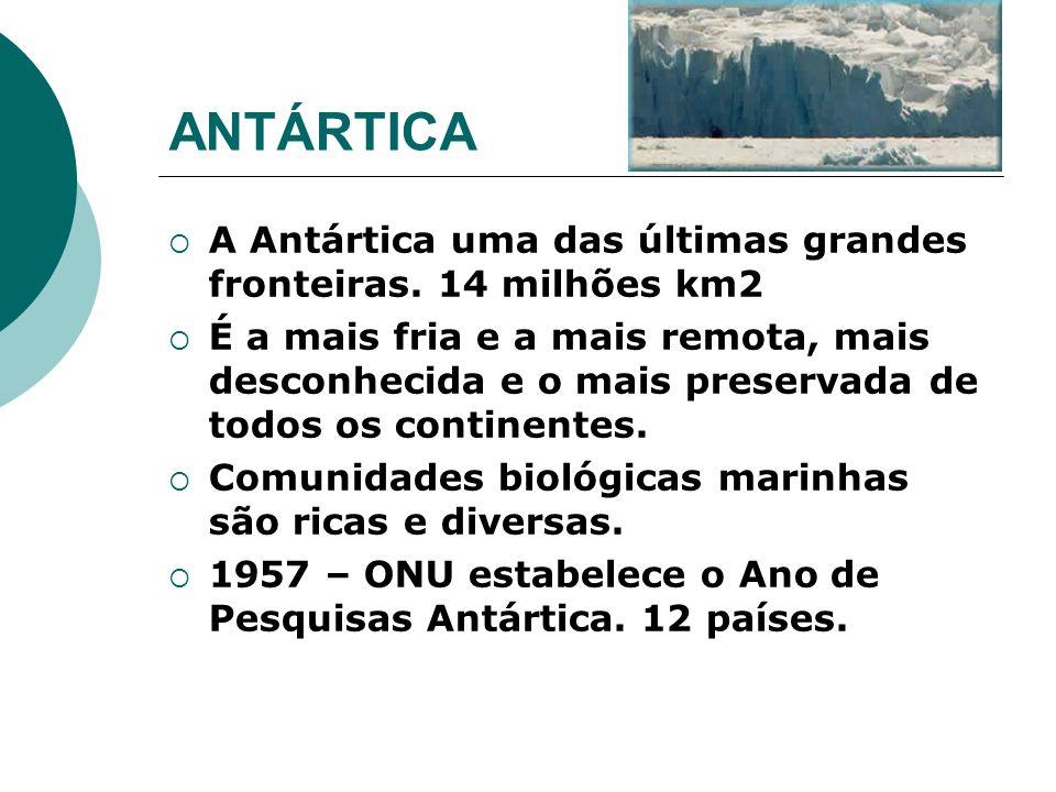 A Antártica uma das últimas grandes fronteiras. 14 milhões km2 É a mais fria e a mais remota, mais desconhecida e o mais preservada de todos os contin