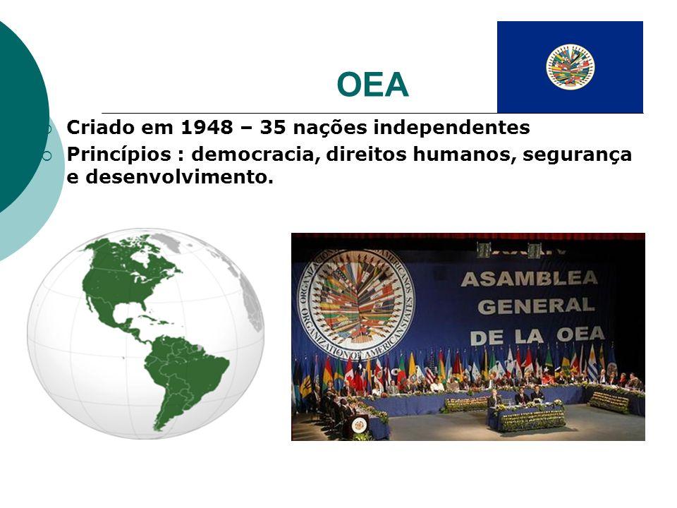 OEA Criado em 1948 – 35 nações independentes Princípios : democracia, direitos humanos, segurança e desenvolvimento.