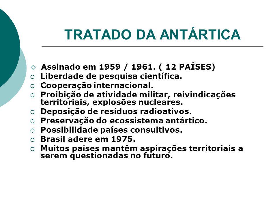 TRATADO DA ANTÁRTICA Assinado em 1959 / 1961. ( 12 PAÍSES) Liberdade de pesquisa científica. Cooperação internacional. Proibição de atividade militar,