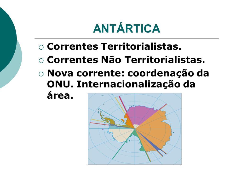 ANTÁRTICA Correntes Territorialistas. Correntes Não Territorialistas. Nova corrente: coordenação da ONU. Internacionalização da área.