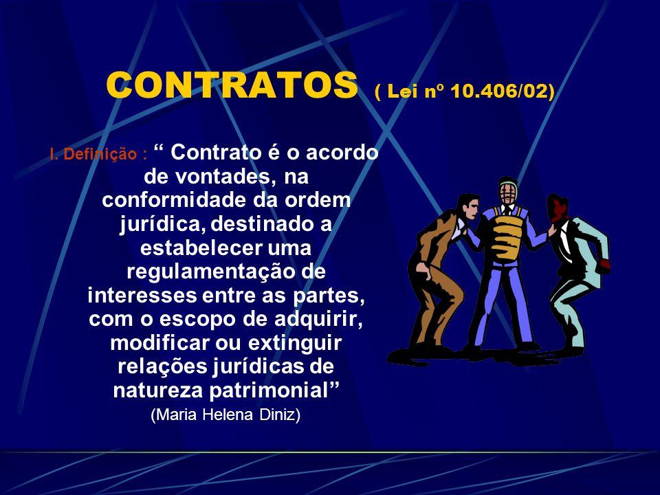 CONTRATOS ( Lei nº 10.406/02) I. Definição : Contrato é o acordo de vontades, na conformidade da ordem jurídica, destinado a estabelecer uma regulamen
