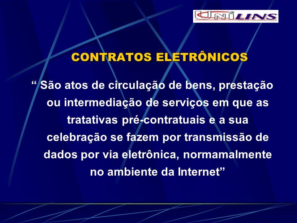 CONTRATOS ELETRÔNICOS CONTRATOS ELETRÔNICOS São atos de circulação de bens, prestação ou intermediação de serviços em que as tratativas pré-contratuai