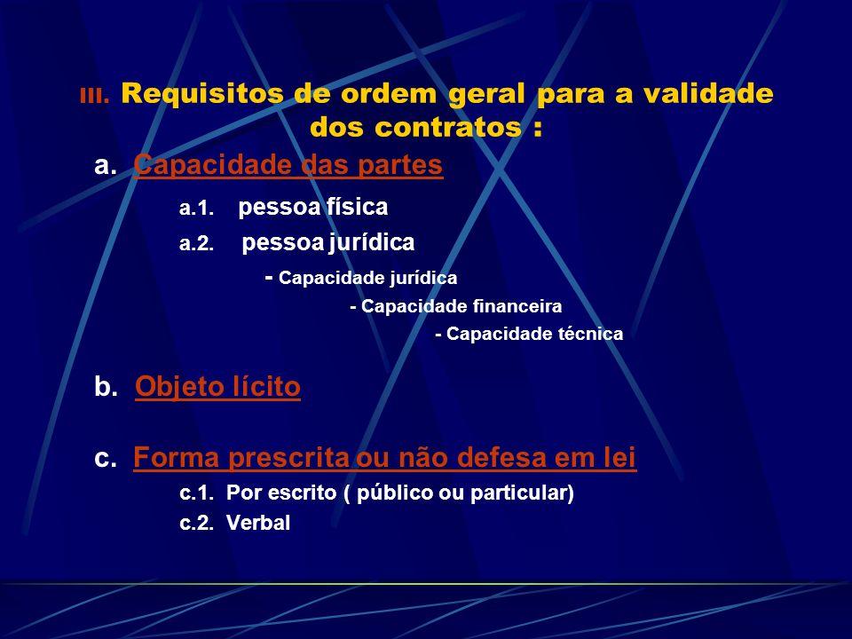 III. Requisitos de ordem geral para a validade dos contratos : a. Capacidade das partes a.1. pessoa física a.2. pessoa jurídica - Capacidade jurídica