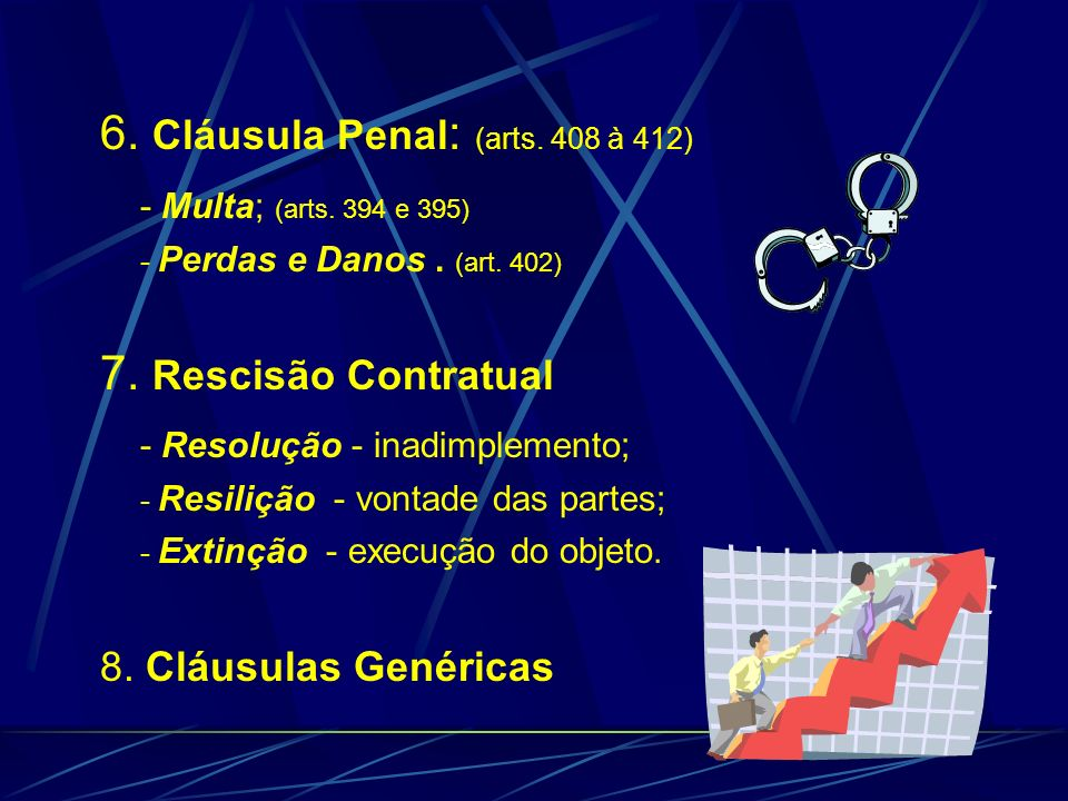 6. Cláusula Penal : (arts. 408 à 412) - Multa; (arts. 394 e 395) - Perdas e Danos. (art. 402) 7. Rescisão Contratual - Resolução - inadimplemento; - R