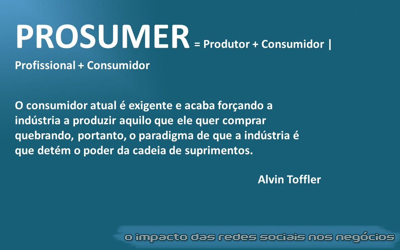 PROSUMER = Produtor + Consumidor | Profissional + Consumidor O consumidor atual é exigente e acaba forçando a indústria a produzir aquilo que ele quer