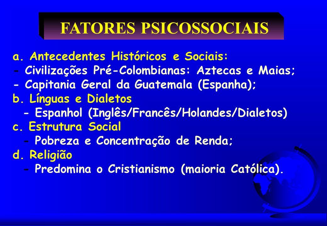 FATORES PSICOSSOCIAIS a. Antecedentes Históricos e Sociais: - Civilizações Pré-Colombianas: Aztecas e Maias; - Capitania Geral da Guatemala (Espanha);