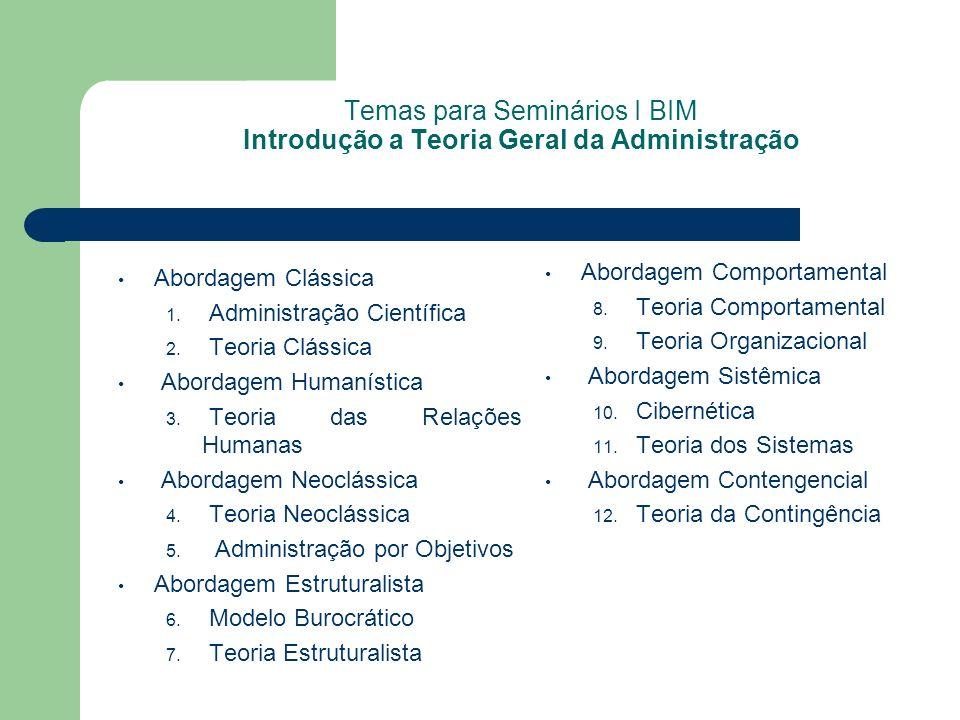 Temas para Seminários I BIM Introdução a Teoria Geral da Administração Abordagem Clássica 1. Administração Científica 2. Teoria Clássica Abordagem Hum