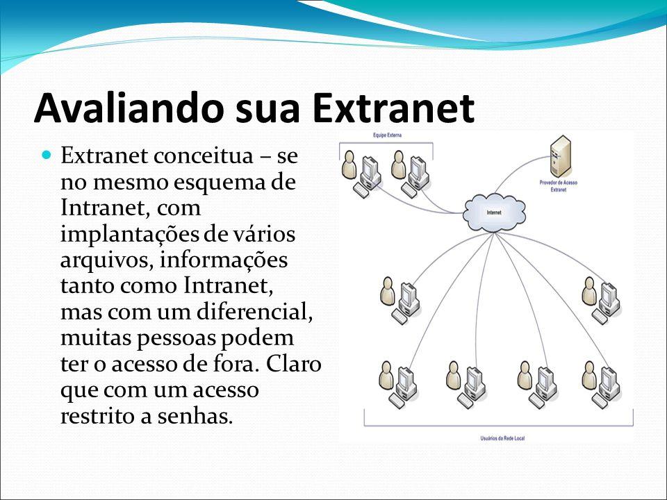 Avaliando sua Extranet Extranet conceitua – se no mesmo esquema de Intranet, com implantações de vários arquivos, informações tanto como Intranet, mas