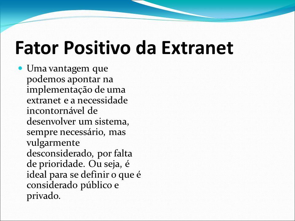 Fator Positivo da Extranet Uma vantagem que podemos apontar na implementação de uma extranet e a necessidade incontornável de desenvolver um sistema,
