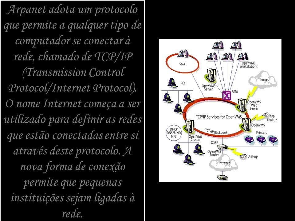 Arpanet adota um protocolo que permite a qualquer tipo de computador se conectar à rede, chamado de TCP/IP (Transmission Control Protocol/Internet Pro