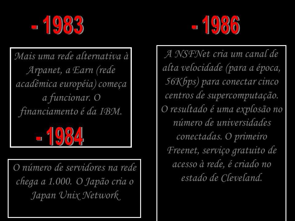 Mais uma rede alternativa à Arpanet, a Earn (rede acadêmica européia) começa a funcionar. O financiamento é da IBM. O número de servidores na rede che