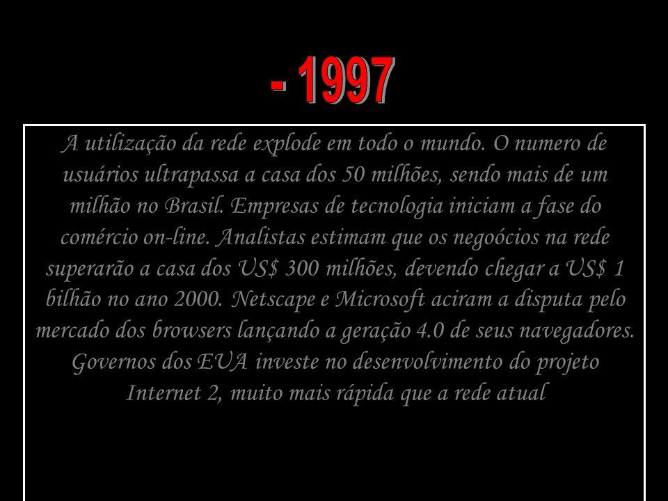 A utilização da rede explode em todo o mundo. O numero de usuários ultrapassa a casa dos 50 milhões, sendo mais de um milhão no Brasil. Empresas de te