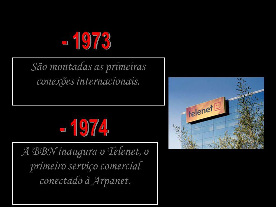 São montadas as primeiras conexões internacionais. A BBN inaugura o Telenet, o primeiro serviço comercial conectado à Arpanet.