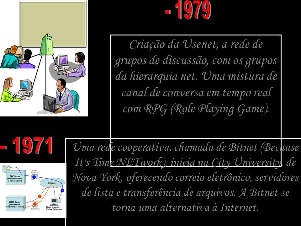 Criação da Usenet, a rede de grupos de discussão, com os grupos da hierarquia net. Uma mistura de canal de conversa em tempo real com RPG (Role Playin